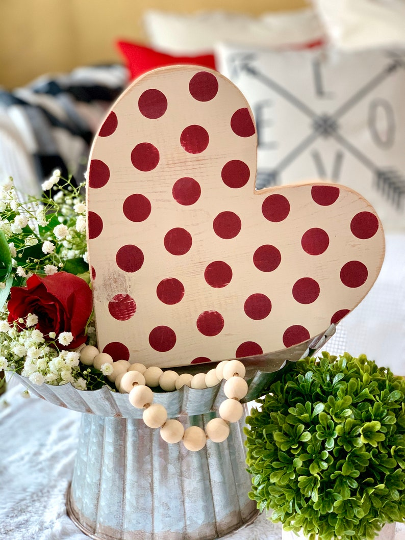 Valentines Day Decor Gift 10 Polka Dot Wood Heart ready to image 0