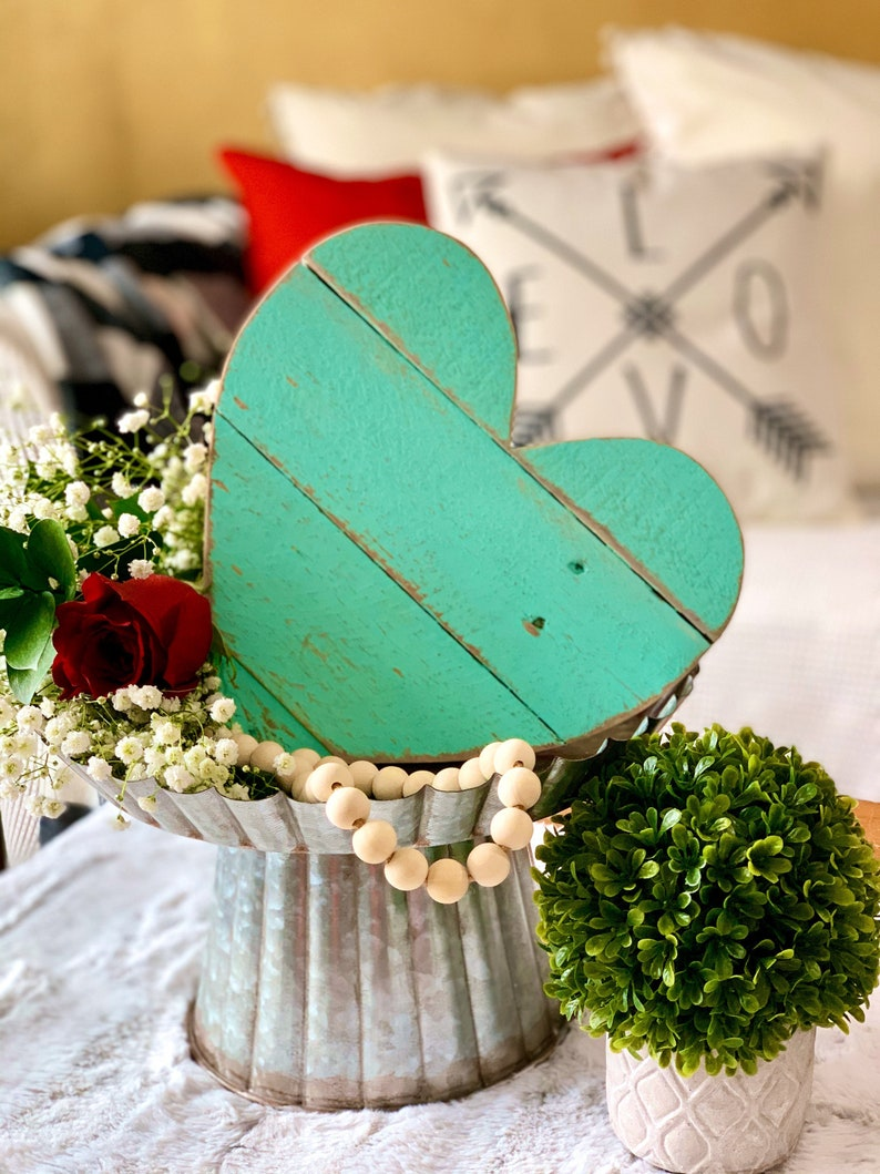 Farmhouse Decor Rustic 10 Handmade Barn Wood Heart in Antique image 0