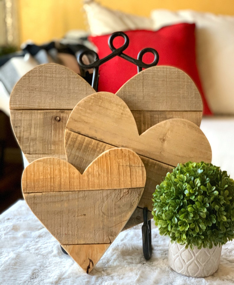 Rustic Valentines Decor Wood Heart Natural Reclaimed Barn image 0
