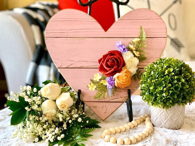 Valentines Day Decor 13 Farmhouse Barn Wood Heart in Blush image 0