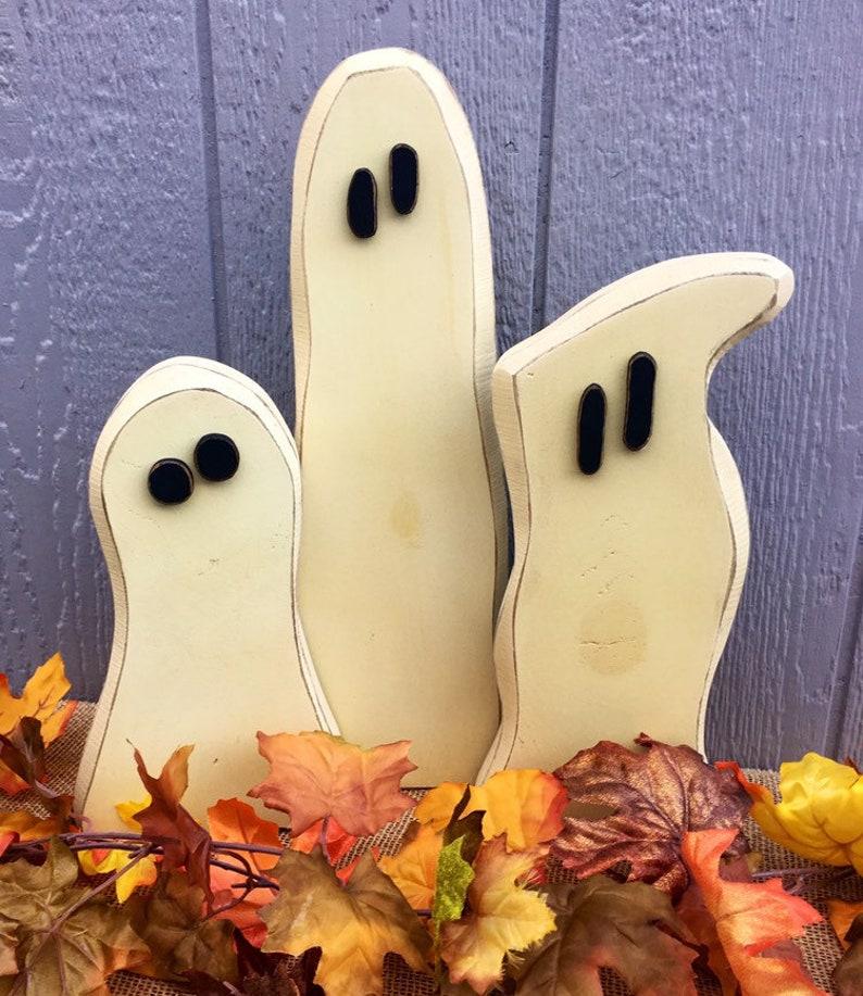 Halloween Decor Wood Ghosts Glow-in-the-Dark Wooden Ghosts image 0
