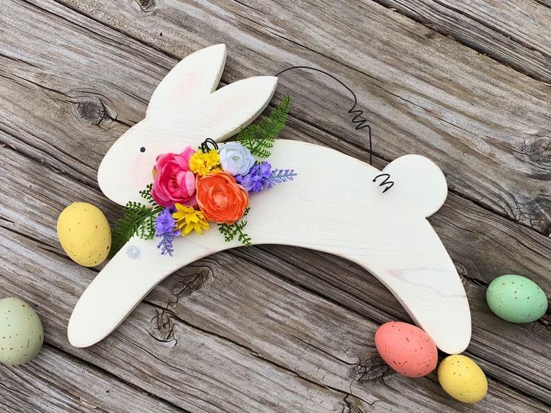 Spring Decor Wood Bunny Easter  Decor Wooden Rabbit Door image 0