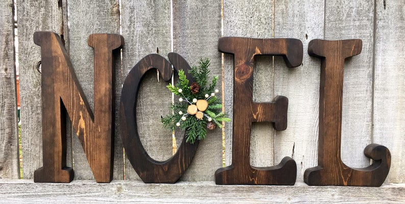 Christmas Decor Noel Wood Letters Large Size Mantle Christmas Decoration Farmhouse Rustic Natural Wooden Letters Noel Christmas Decor