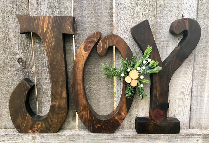 Christmas Decor Wood JOY Letters Christmas Mantle Decoration image 0