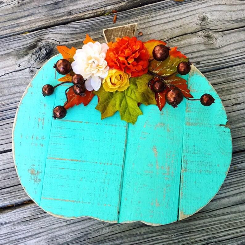 Halloween Decor Wood Pumpkin Thanksgiving Decor Fall Decor image 0