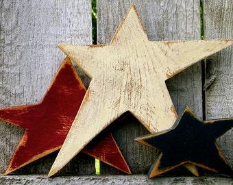 Americana Decor Patriotic Decor  Wood Stars Primitive Stars Fourth of July Decor Rustic Americana Decor Farmhouse Wood Stars Americana
