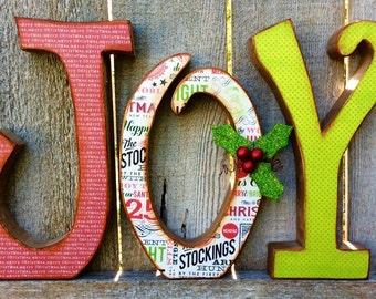 Christmas Decor Chunky Wood JOY Letters, Christmas Decor Antiqued Chunky Wood JOY Letters, Christmas Wood