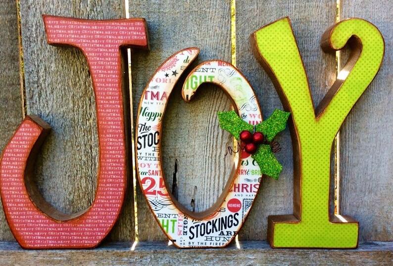 Christmas Decor Chunky Wood JOY Letters Christmas Decor image 0