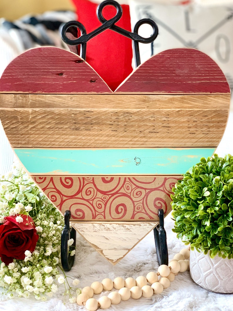 Rustic Farmhouse Decor 13 Barn Wood Heart Ready to Hang or image 0
