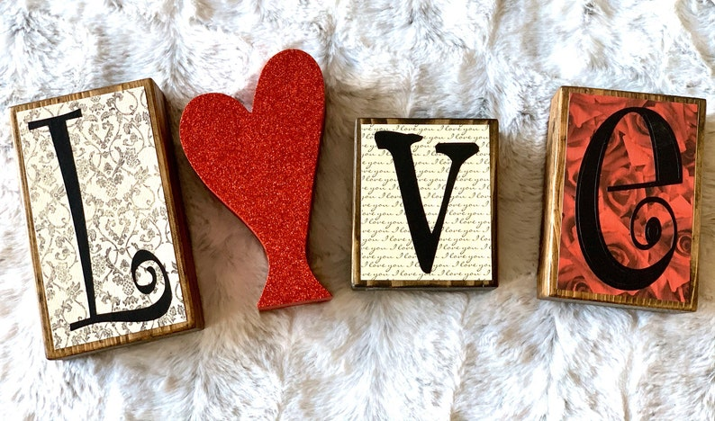 Valentine's Day Decor Wood Heart Love Letter Blocks image 0