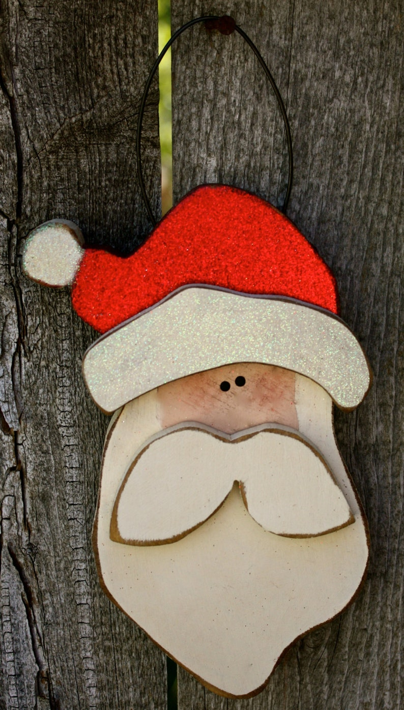 Santa Ornament Christmas Decor Wood Santa Claus Ornament image 0