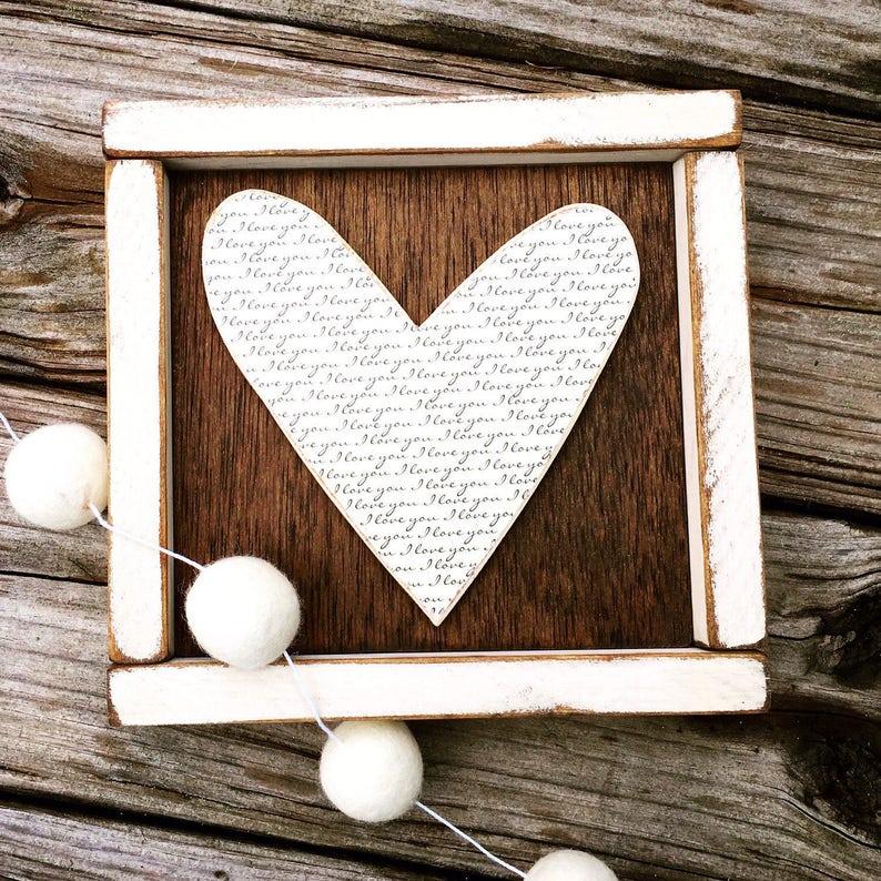 Wood Heart Wall Art Sign Wooden Gallery Wall Rustic Wedding image 0