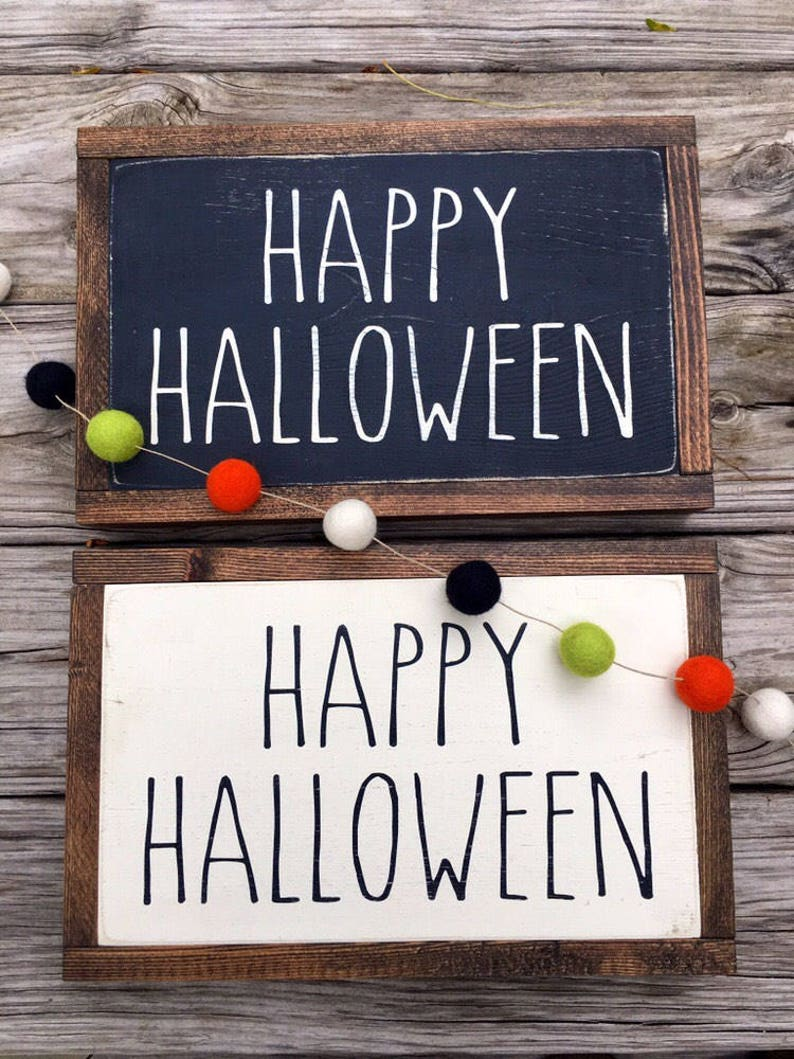 Halloween Decor Wood Sign Wood Wall Art Halloween Decoration image 0