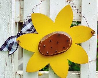 Wood Sunflower Summer Decor Door Hanger