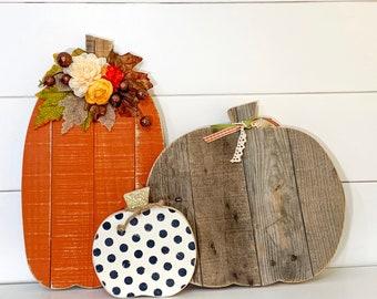 Halloween, Fall and Thanksgiving Decor Barn Wood Pumpkins
