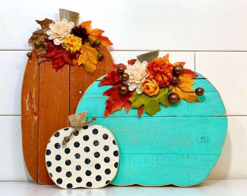 Halloween Decor Wood Pumpkin Trio Barn Wood Pumpkins Fall image 0