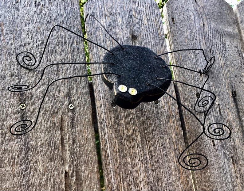 Halloween Decor Spider Halloween Decoration Carved Wood Spider image 0