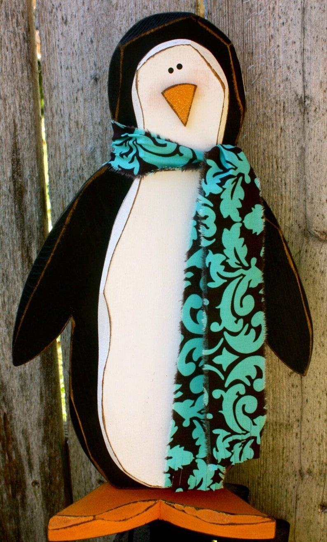 Winter Decor Wood Penguin  Carved Wooden Penguin Christmas image 0