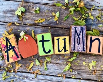 Fall Decor Wood Letter Autumn Block Set