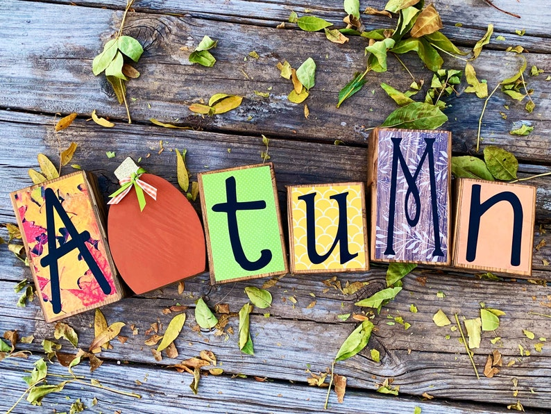 Fall Decor Wood Letter Autumn Block Set wIth Wood Pumpkin image 0