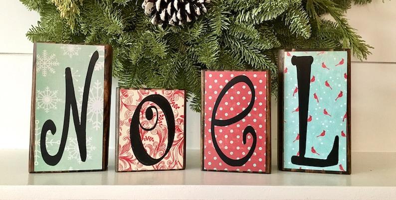 Christmas Decor Wood Noel Letter Blocks Christmas Decoration Christmas Gift Wooden Block Letters Neighbor Teacher Gift Holiday Decor Noel