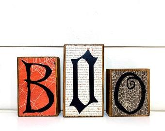 Halloween Decor Wood Boo Letter Block Set