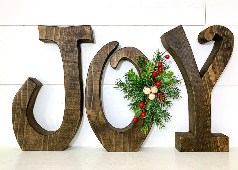 Christmas Decor Wood Letters Joy Natural Wood Christmas image 0