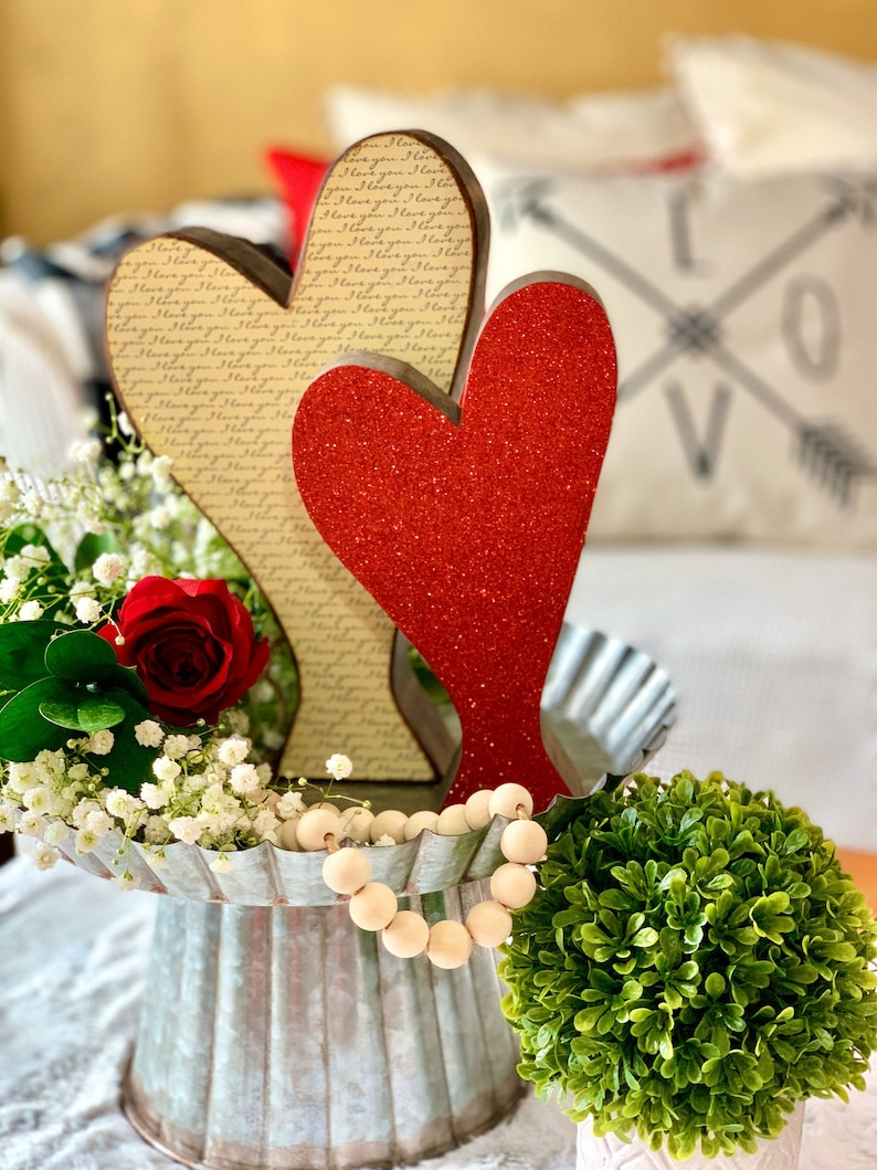 Valentines Day Decor Wood Heart Pair. Freestanding for image 0
