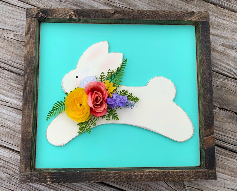Easter Decor Wood Bunny Sign Spring Farmhouse Easter Decor image 0