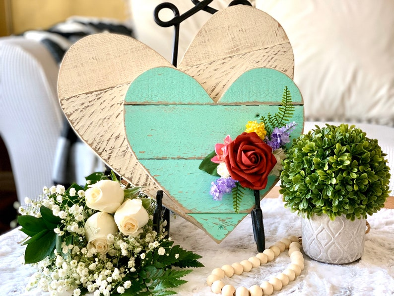 Valentines Day Decor 10 Barn Wood Heart Antique Mint Blue image 0