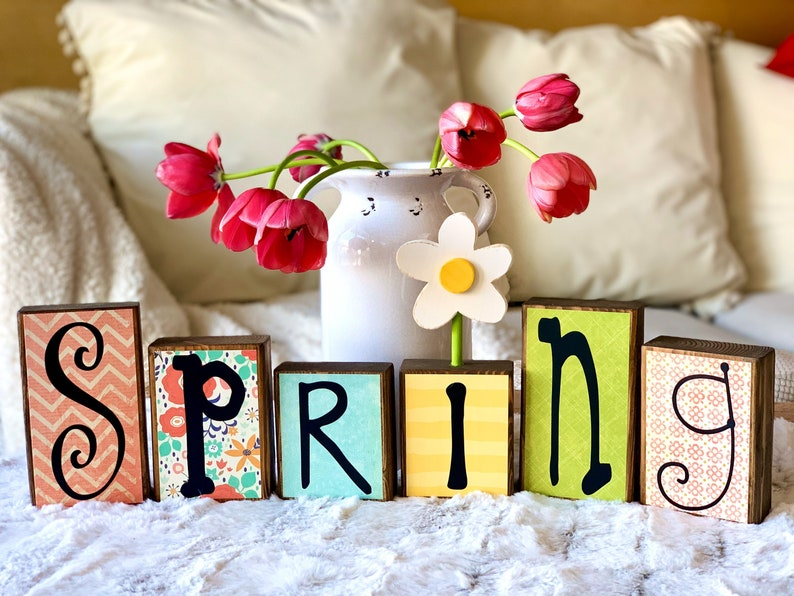 Spring Farmhouse Decor Wood Block Set Freestanding with White image 0