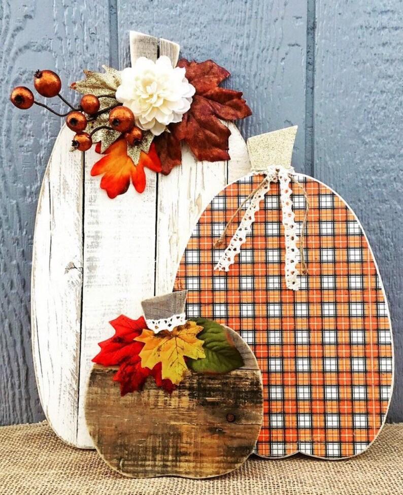 Thanksgiving Decor Barn Wood Pumpkin Trio Rustic Fall Decor image 0