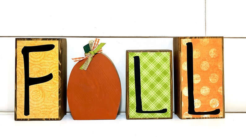 Fall Decor Wood Block Set for Shelves Tables Mantles and image 0