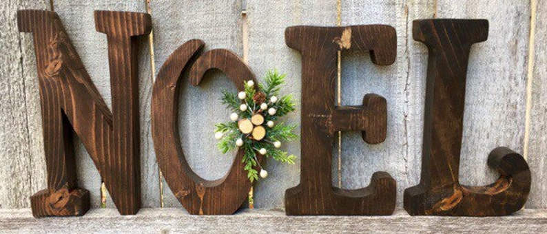 Noel Christmas Decor Natural Wood Letters with Christmas image 0