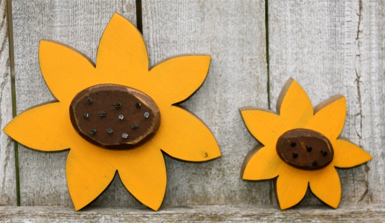 Wood Flowers Wood Sunflowers Summer Decor Fall Decor Wooden image 0