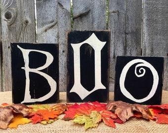 Halloween Decor Boo Wood Blocks