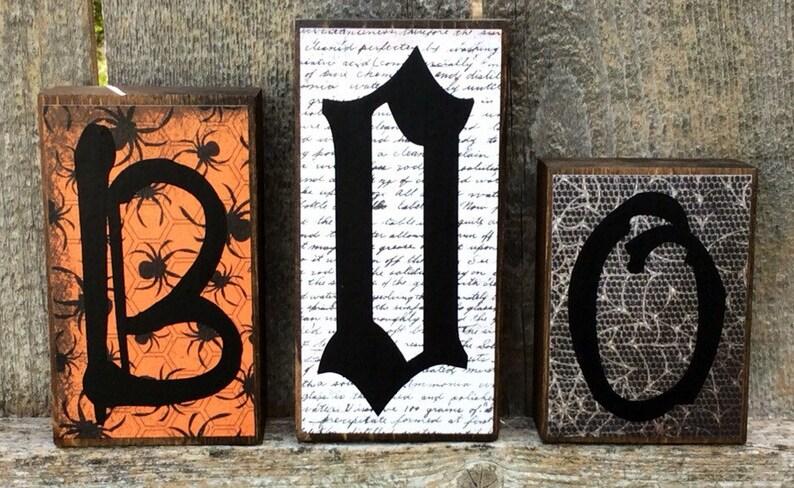 Halloween Decor Christmas Decor Reversible Wood Letter Blocks image 0