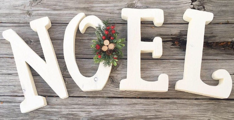 Christmas Decor Wood Noel Letters Whitewashed Wooden Farmhouse image 0