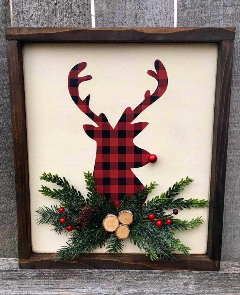 Christmas Decor Reindeer Framed Wood Sign Christmas Decor image 0
