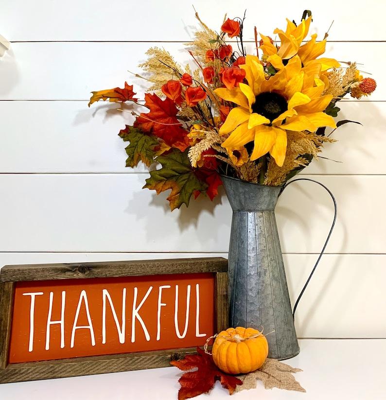 Thanksgiving Decor Thankful Wood Sign image 0