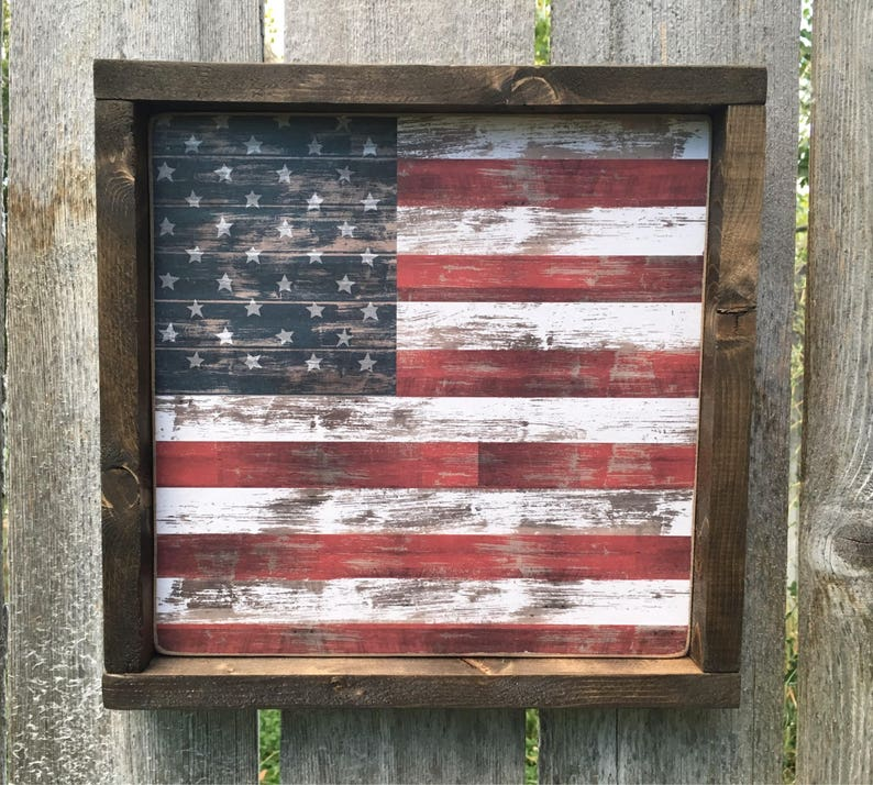 Americana Decor Wood Sign Framed Wooden American Flag Sign  image 0
