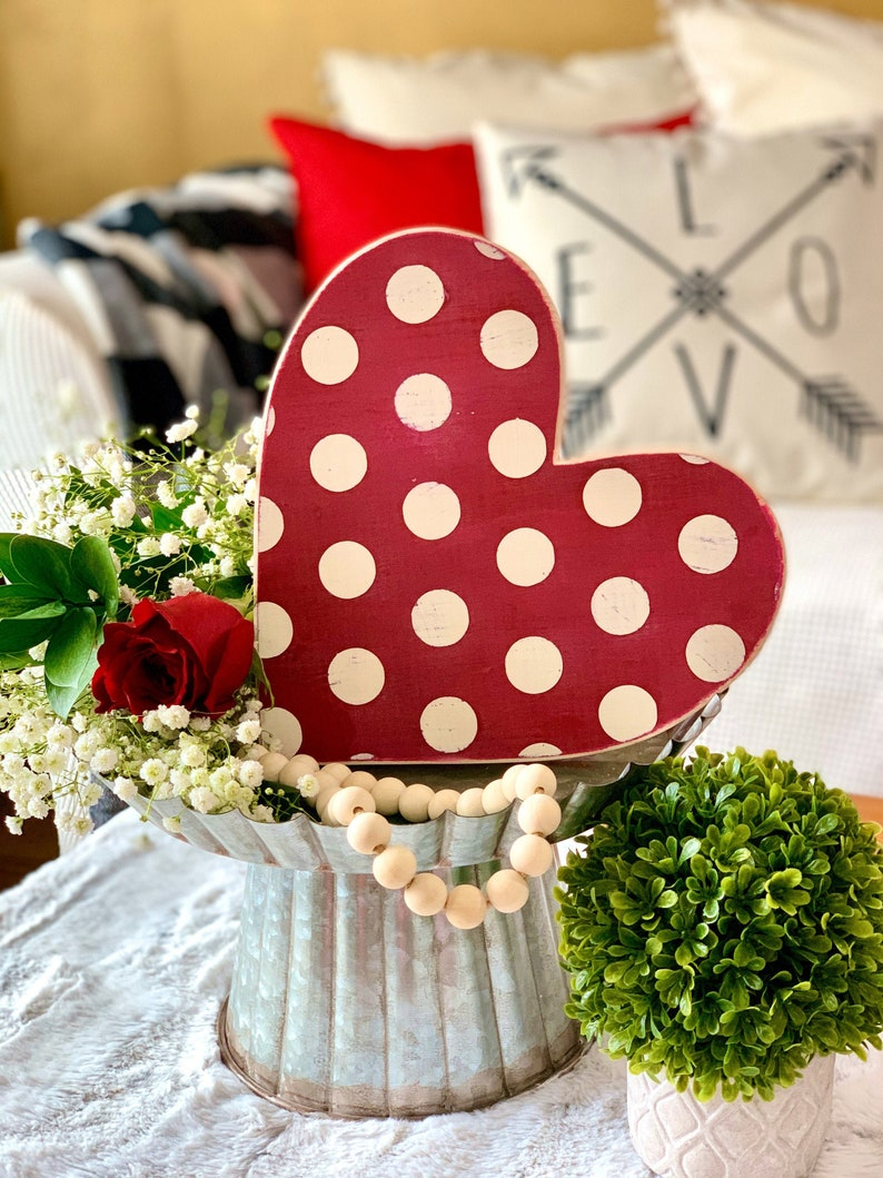 Valentines Day Decor 10 Polka Dot Wood Heart.  Great for image 0