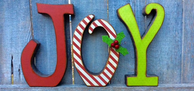 Christmas Decor Chunky Wood Antiqued JOY Letters Wood Letters image 0