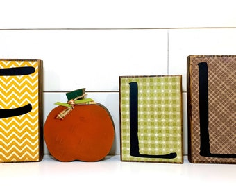 Fall Decor Large Wood Block Letter Set wIth Wood Pumpkin