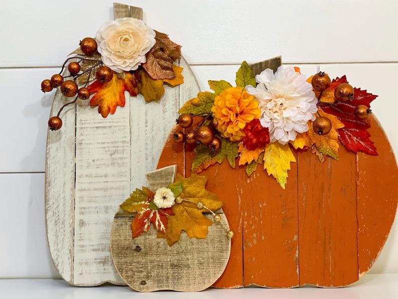 Fall Decor Barn Wood Pumpkin Trio image 0