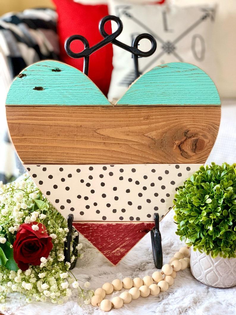 Farmhouse Decor 13 Barn Wood Heart for Valentines Day Decor image 0