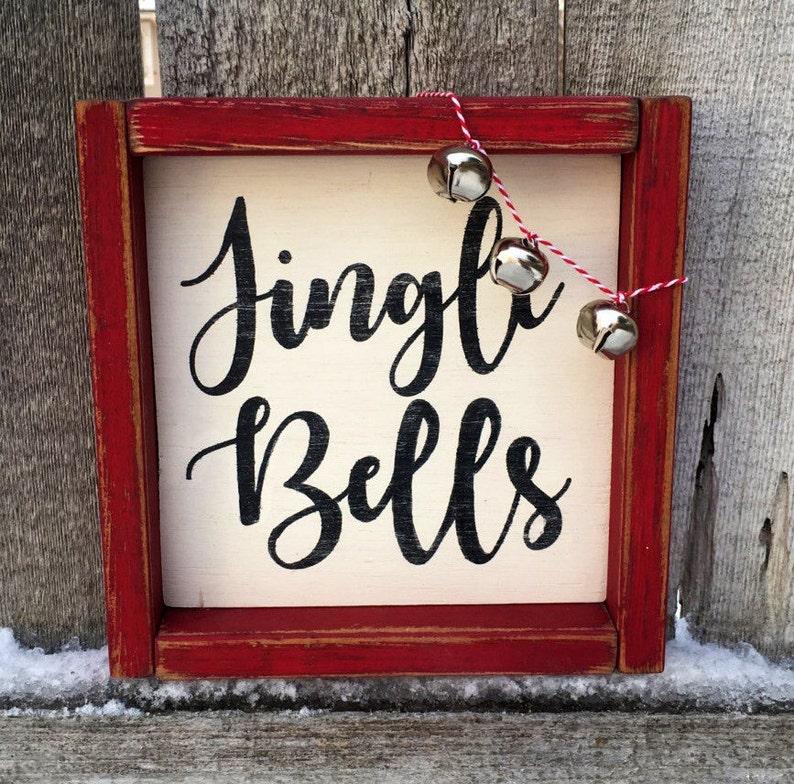Christmas Decoration Jingle Bells Framed  Wood Sign Farmhouse image 0
