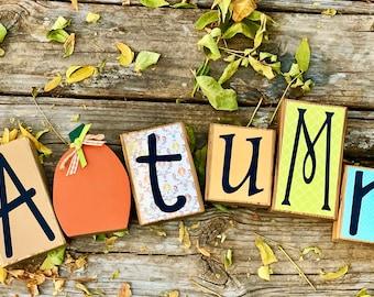 Wood Autumn Block Set for Fall Decor