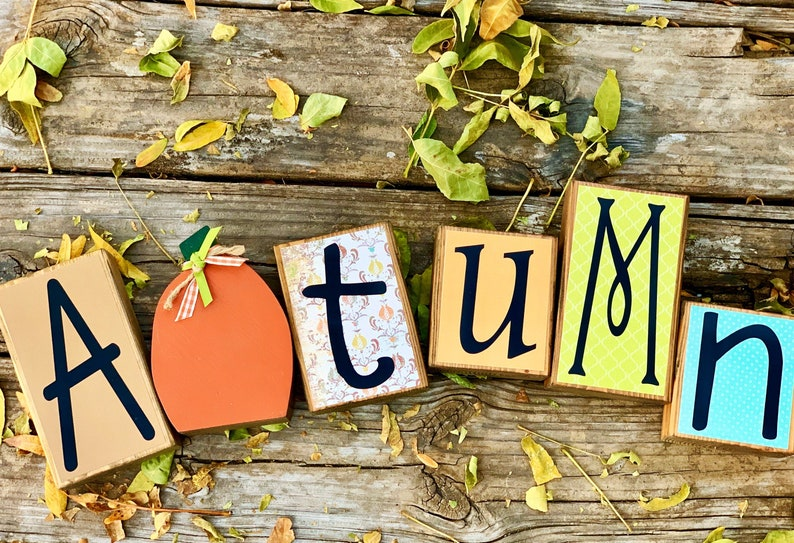 Wood Autumn Block Set for Fall Decor Tables Mantles and image 0