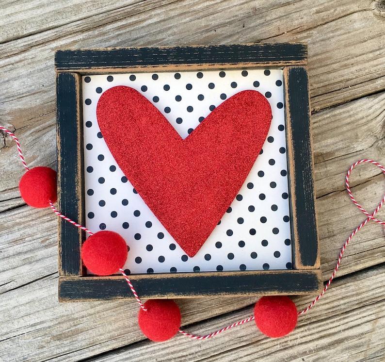 Valentine's Decor Custom Wood Heart Sign Valentine's image 0
